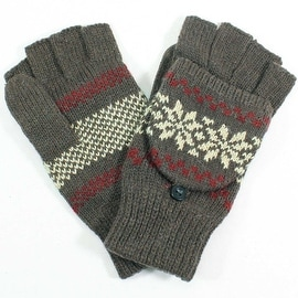 Womens Snowflake Angora Blend Flip Top Mitten Gloves