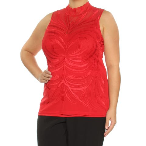 INC Womens Red Embroidered Sleeveless Turtle Neck Top Plus Size: XL