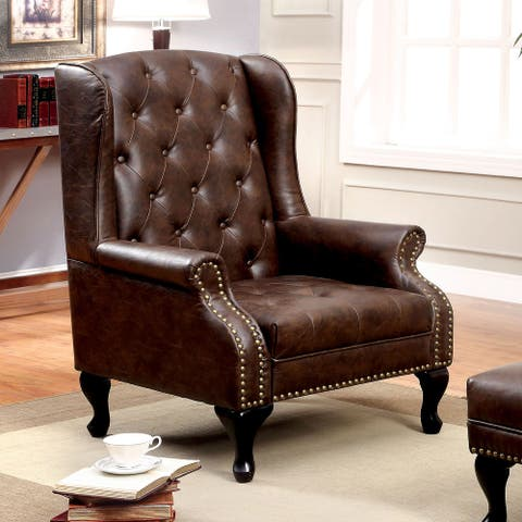Furniture of America Corr Traditional Brown Tufted Accent Chair