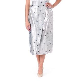 Vika Gazinskaya Womens Silk Blend Metallic Wrap Skirt