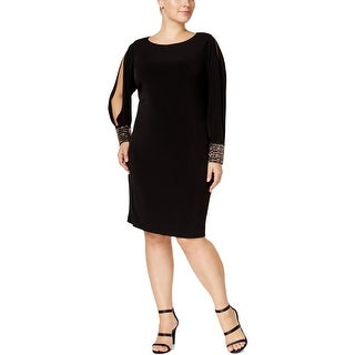 Calvin Klein Womens Plus Party Dress Matte Jersey Beaded