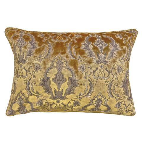 Rodeo Home Beatrice Traditional Damask Velvet Lumbar Pillow