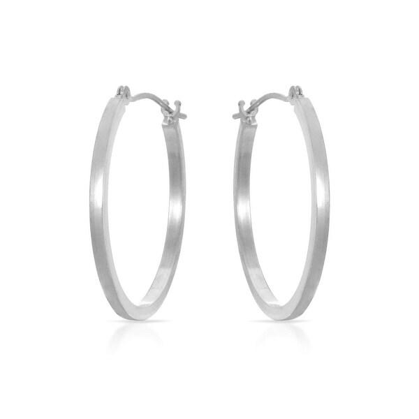 Mcs Jewelry Inc 14 KARAT WHITE GOLD CLASSIC HOOP EARRINGS