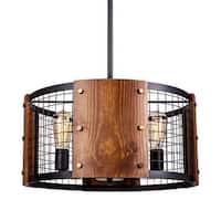 Industrial Black 4-Light Drum Iron and Wood Chandelier