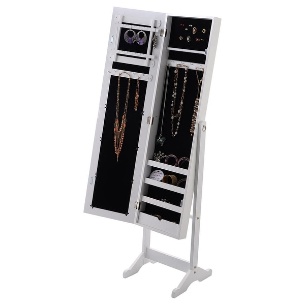 Costway Mirrored Jewelry Cabinet Armoire Mirror Organizer Storage Box Ring w/ Stand - White