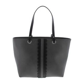 CATHERINE CATHERINE MALANDRINO Womens Daphne Tote Handbag Faux Leather Scalloped - Large