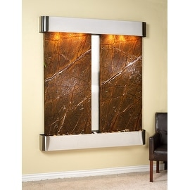 Adagio Cottonwood Falls Fountain w/ Brown Rainforest Marble in Stainless Steel F