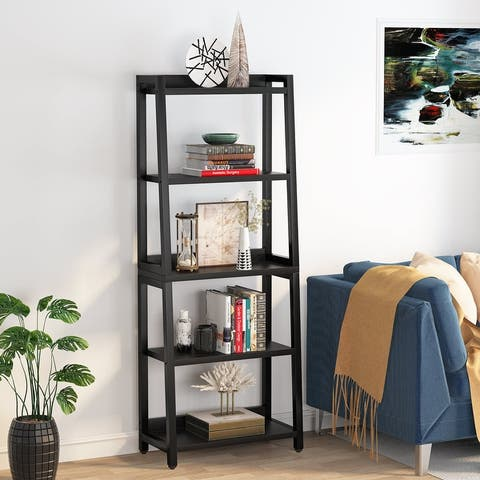 5-Tier Ladder Bookcase, Free Standing Leaning Bookshelf, Industrial