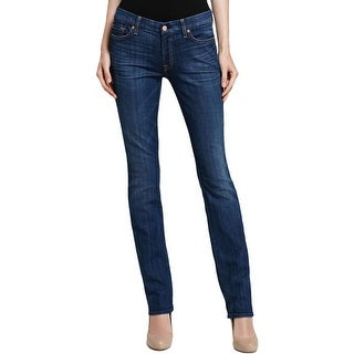 7 For All Mankind Womens Kimmie Straight Leg Jeans Whisker Wash Low-Rise - 31