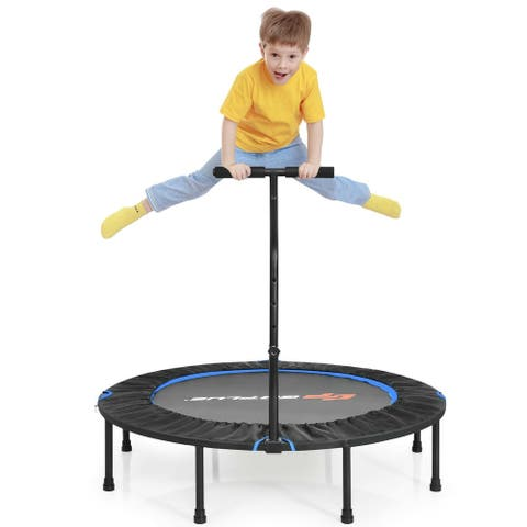 """47"""" Folding Trampoline Fitness Exercise Rebound with Handle for Adults and Kids"""