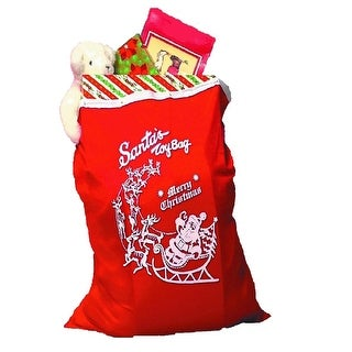 Red Merry Christmas Santa Claus Toy Bag with Drawstring  One Size