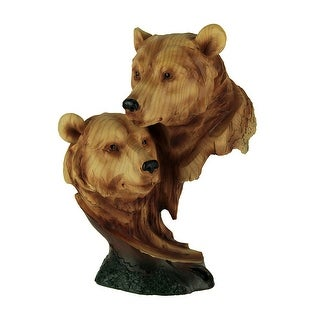Faux Carved Bear Heads Wood Look Statue - 9 X 6.25 X 3.5 inches