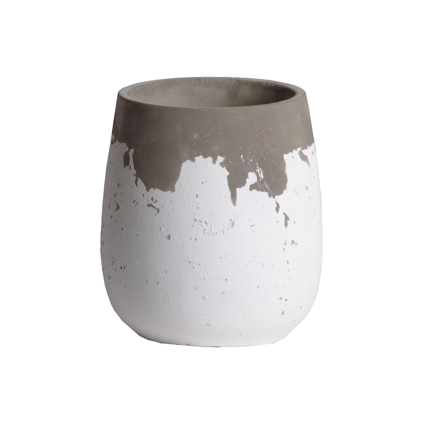 Cement Round Bellied Pot With Irregular Gray Band Rim Top, Large, White