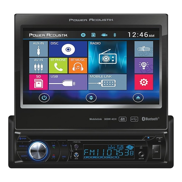 "Power Acoustik S. Din 7"" Flip out AM/FM/CD/DVD/USB/BT"