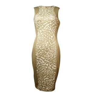 Calvin Klein Women's Animal Print Scuba Sheath Dress - khaki multi