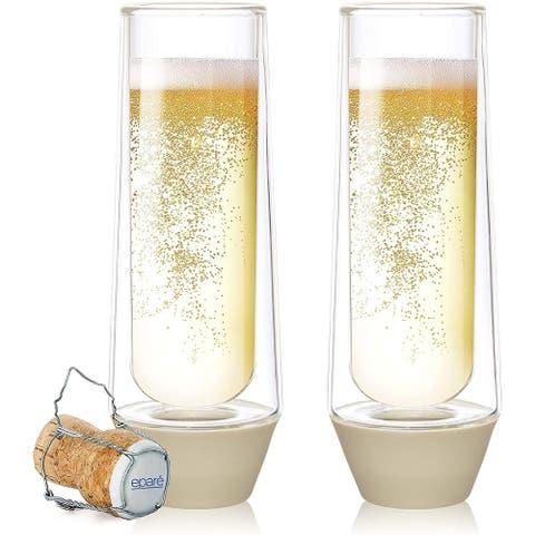 Epare Champagne Glasses - 5oz Stemless Flute - Set of 2