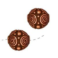 TierraCast Copper Plated Pewter Round Spiral Beads 7.5mm (2)