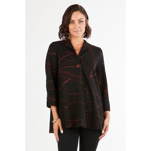 Women's Geometric Print 3/4 Sleeves One-Button Cardigan Jacket