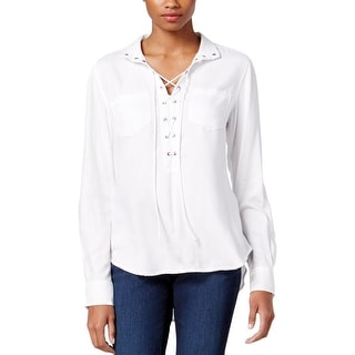 Vintage America Womens Delilah Casual Top Lace-Up Adjustable Sleeves - s