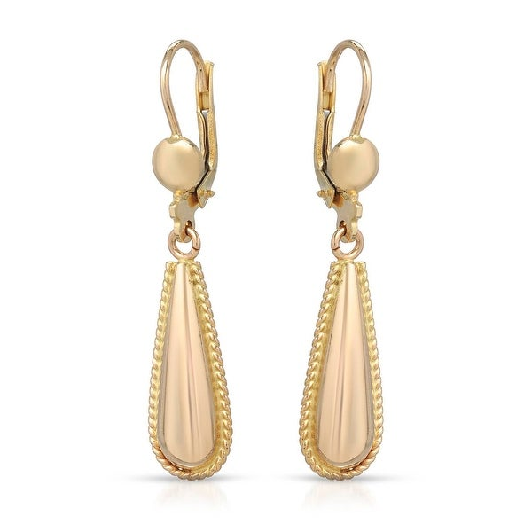 Mcs Jewelry Inc  10 KARAT YELLOW GOLD DANGLING DROP LEVERBACK EARRINGS (1.6 INCHES)