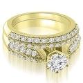 1.95 cttw. 14K Yellow Gold Antique Cathedral Round Cut Diamond Bridal Set - Thumbnail 0