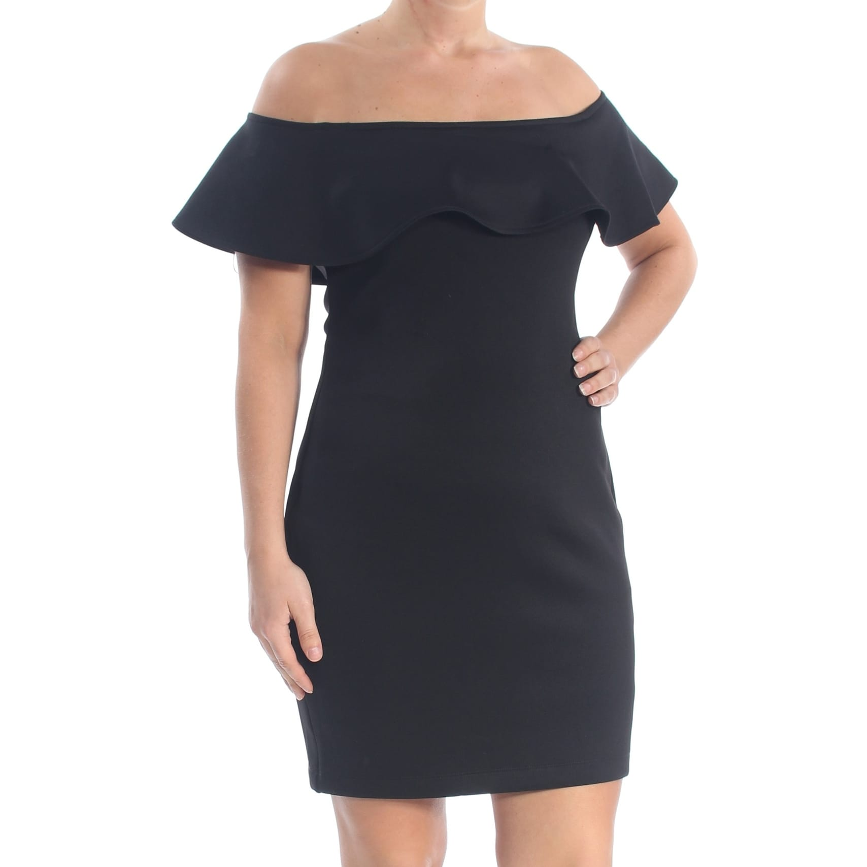 GUESS Womens Black Ruffled Short Sleeve