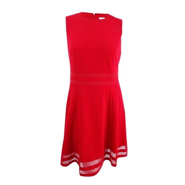 2eb2d77d207f9 Shop Calvin Klein Women s Plus Size Illusion-Trim Fit   Flare Dress (14W