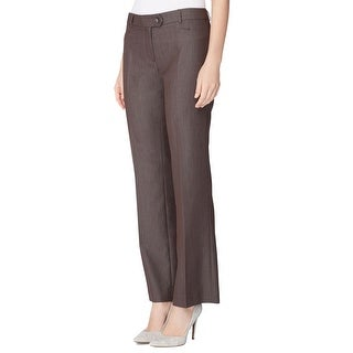 Tahari ASL Petite Karina Straight Leg Flat Front Trousers Pants Slacks Brown - 0p