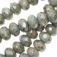 Czech Fire Polished Glass, Donut Rondelle Beads 3.5x5mm, 50 Pieces, Lazure Blue