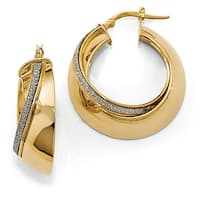 Italian 14k Gold Glitter Hoop Earrings