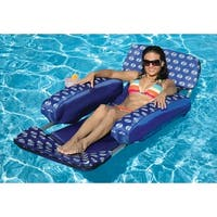 72' Blue Designer Floating Swimming Pool Lounger with Inflatable Cushion Arms