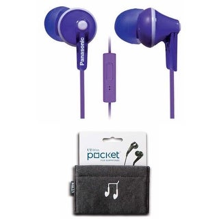 Panasonic ErgoFit In-Ear Earbuds Headphones (Purple) with Mic/Controller RP-TCM125 Bundle