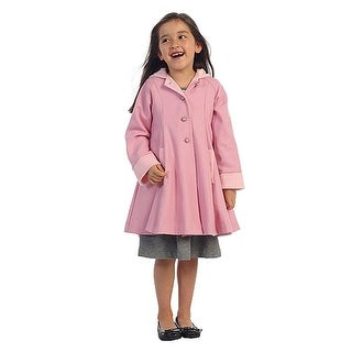 Angels Garment Pink Wool Hooded Swing Coat Toddler Little Girls 2T-8