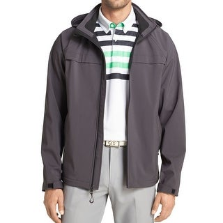 IZOD NEW Charcoal Gray Mens Size Small S Soft Shell Hooded Jacket