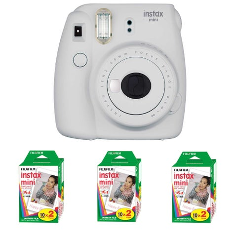 Fujifilm Instax Mini 9 (Smokey White) + 3 x Instant Film Double Pack