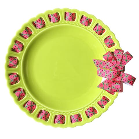 """12"""" Lime Green Ceramic Plate with Watermelon Ribbon Woven Around the Edge"""