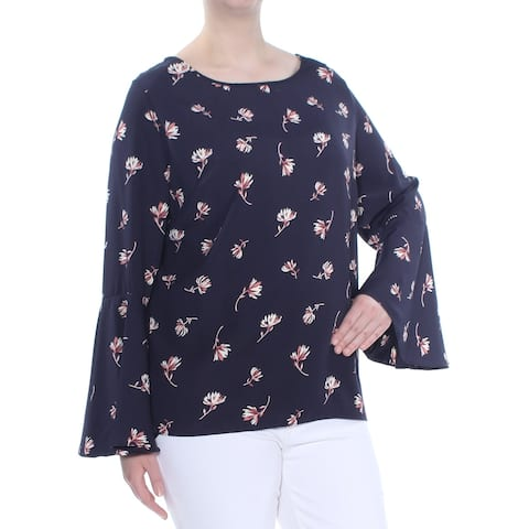 SOPRANO Womens Navy Printed Bell Sleeve Jewel Neck Top Plus Size: 2X