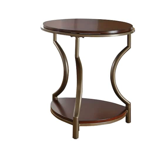 Copper Grove Marcus Round Mixed Media End Table