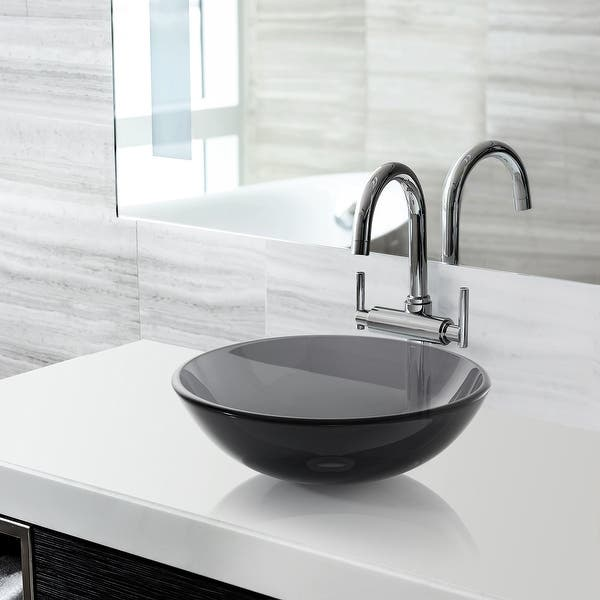 Modern Glass Vessel Sink Counter Bathroom Vanity Gray Overstock 31128877
