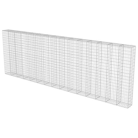"vidaXL Gabion Wall with Covers Galvanized Steel 236""x11.8""x78.7"""