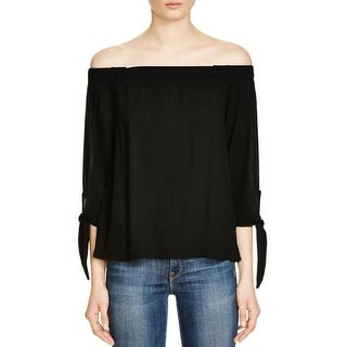 Ella Moss Womens Blouse Sheer Knotted
