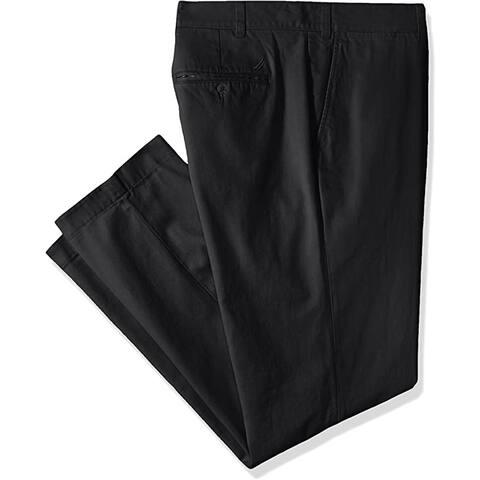 Nautica Men's Big and Tall Twill Flat-Front Pant, True Black, 44W x 32L - 44W x 32L