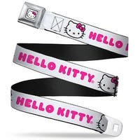 Hello Kitty Face Full Color White Pink Bow Hello Kitty White Pink Webbing Seatbelt Belt