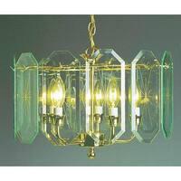 Volume Lighting V3195 5 Light 1 Tier Chandelier with Beveled Glass Shade - Polished brass