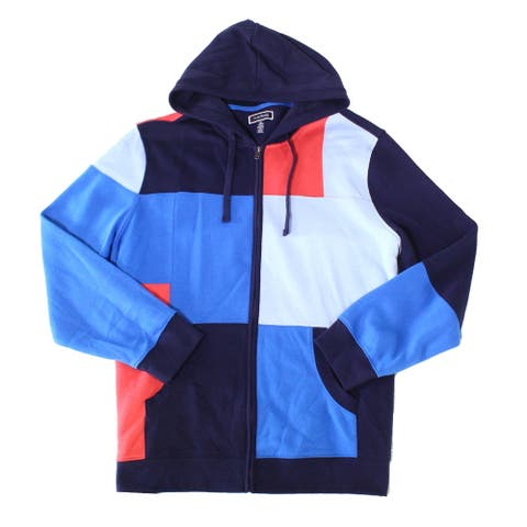 Club Room Mens Sweater Red Blue Size Medium M Colorblock Zip Up Hooded