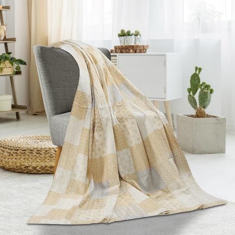 LR Home Peach Cream Kantha Throw Blanket