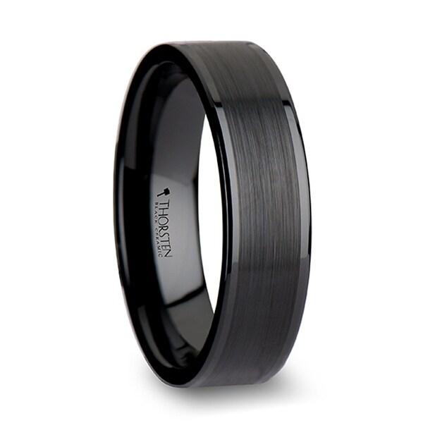THORSTEN - OCTAVIUS Flat Black Ceramic Ring with Brushed Center & Polished Edges - 6 mm