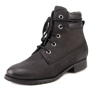 Bronx Mixer Up Women Round Toe Leather Black Ankle Boot