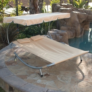 Belleze Patio Steel Double Hammock Bed Moving Sun Lounger Chaise W/ Canopy  And Wheel