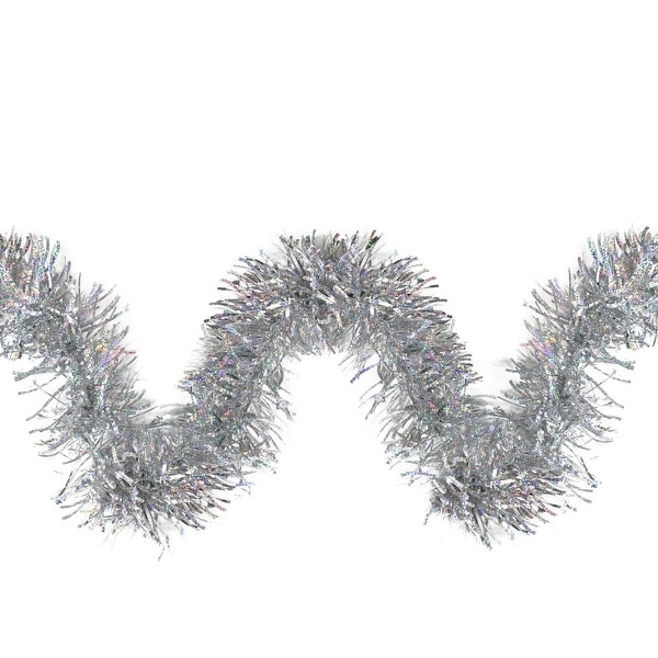 12' Silver Holographic Wide Cut Christmas Tinsel Wave Garland